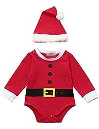 Covermason Bebé Unisex Navidad Conjunto, Rojo Lindo Mono Bodies + Christmas Sombrero para 0-18M Niñas y niño (2PCS/1 Conjunto)