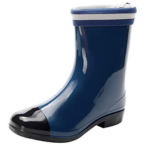 ANUFER Damen Wasserdicht Leicht Mitte der Wade Regen Stiefel mit Abnehmbarem Flusenfutter Blau 39 EU (Regen Stiefel Mitte Der Wade Für Frauen)