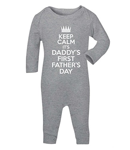 Keep Calm Daddy's First Father's Day süßes Motiv Baby Strampler Strampelanzug 6 - 12 months Grau