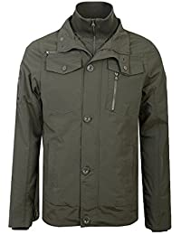 Mens Jacket Crosshatch Coat Double Layer Padded Funnel Neck Zip Lined Winter New