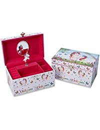 Lucy Locket Magical Unicorn Musical Jewellery Box for Children - Pink Glittery Kids Jewellery Box With Ring Holder