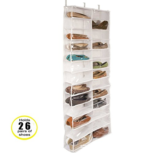 QETU Türschuhorganisator, PVC-Dreidimensionale 26 Große Taschenschuhe, Die Tasche Und Garderobenorganisator Hissen,White