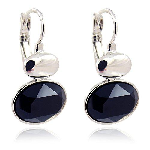 Ohrringe mit Kristallen von Swarovski® Schwarz Silber NOBEL SCHMUCK