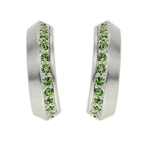 Elegante Silber farbige Ohrringe mit kleinen grünen Steinen -
