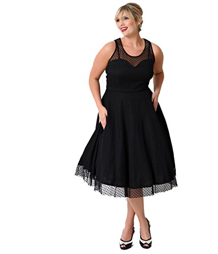 Oriention Plus Schwarz Damen Sexy Mesh Abendkleid Cocktailkleid Party Dress XXXXXL (5XL)