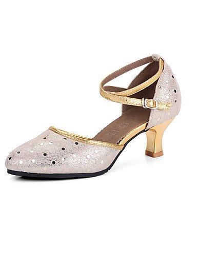 La mode moderne Sandales femmes personnalisables Chaussures de danse moderne en cuir talons Cuban Heel Outdoor/Argent/Or Performance US6/EU36/UK4/CN36