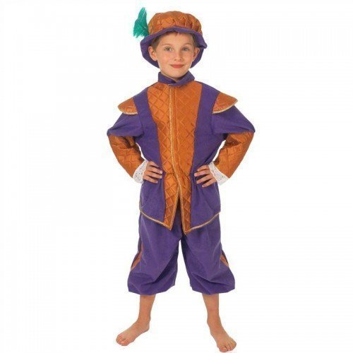 Tudor Jungen Kostüme (Kinder Jungen Earl of Cambridge Reich Tudor Büchertag Kostüm Kleid Outfit - Lila, 8-10 years)