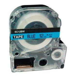 Kassette LC-4LBP LC-4LBP9 SC12BW schwarz auf blau 12mm x 8m Schriftband kompatibel für Epson LabelWorks LW-300 LW-300L LW-400 LW-500 LW-600P LW-700 LW-900P LW-1000P Beschriftungsgerät