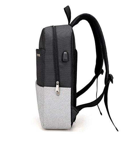 Mode USB Wiederaufladbare Rucksack Tragbare Schultertasche Casual Männer Tasche Große Kapazität Computer Tasche Black