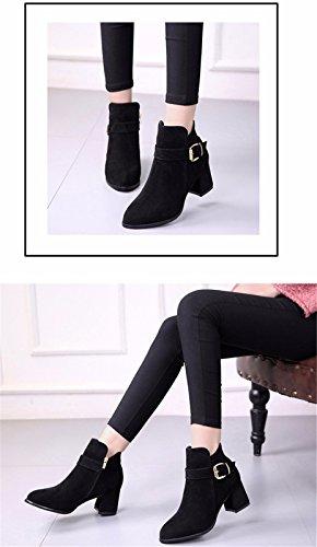 FLYRCX Punta nera lady stivali inverno e inverno suede tacco alto scarpe con tacco,36 37