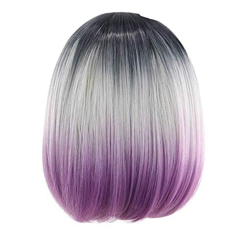 Perruques violette longue Complètes Mélanger Couleur Naturel Mode de Teinture Courte Synthétique BOB bouclé pour Femmes