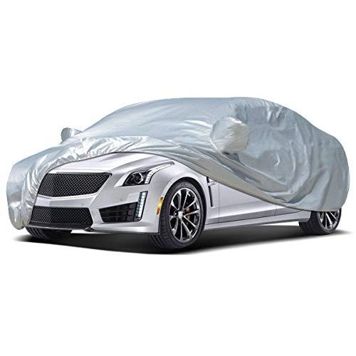 VISLONE Bâche Voiture Housse de Protection Etanche Couverture Auto Anti-poussière UV Soleil Neige Pluie Bandes de Sécurité(4.7 * 1.8 * 1.5m)