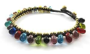 MGD - Verre Indien Perles en laiton Cloche Cheville Bracelet de Cheville - Bracelet de cheville de Pierre Gemme Fabriqué à Partir de Fil de Cire - Bijoux de Mode pour Les Femmes - JB-0132A