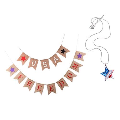 Baoblaze USA Freedom Wimpelkette Girlande mit USA Flagge Anhänger Halskette, Patriotische Schmuck