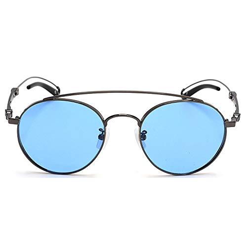 UV400 Schutz Big Border Pure Titanium Farbfilm Brille Polarisierte Sonnenbrille Brille (Farbe : Blue)