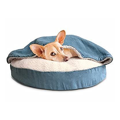 Furhaven Pet Dog Bed   Orthopedic Round Faux Sheepskin Snuggery Burrow Pet Bed for Dogs & Cats, Blue, 18-Inch 3