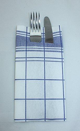 100 Large Linen Feel Paper Napkins 40 x 40 CM, Cutlery Pocket White/Blue