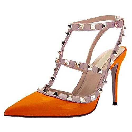 Oasap Women Stylish Rivet Closed Toe Stiletto High Heels, Orange EURO35/US4/UK2