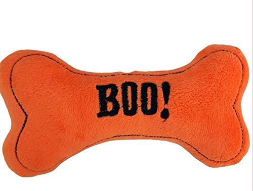 Halloween Feiern Partys Dekoration, Halloween-Schädel-Knochen-Haustier-Plüsch-Kissen-Spielzeug-Hundekatze kaut interaktives weiches Puppen-Spielzeug (Farbe : Orange)