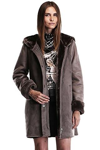 Ovonzo Frauen Faux Veloursleder Leder Reißverschluss Schnelltasten Mantel mit Haube Größe XL