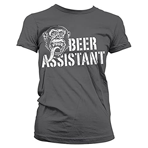 Officially Licensed Merchandise GMG - Beer Assistant Girly Tee (D.Grey), X-Large