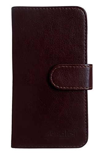 Apple iPhone 8 Book Flip Cover Case Coque de Protection Housse Couverture en cuir artificiel (marron) + 1x Gratuit Protecteur D'écran Brown