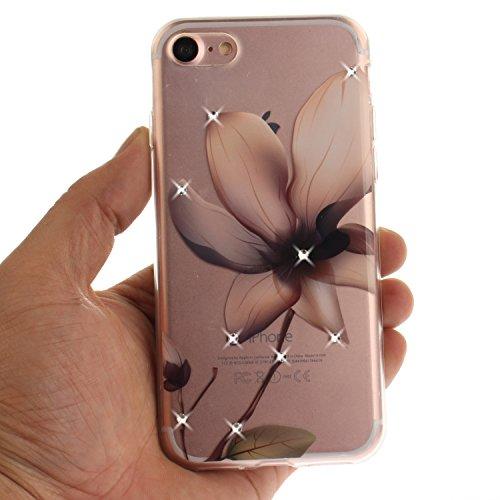 iPhone 7 Coque, Voguecase (Diamant bling)TPU avec Absorption de Choc, Etui Silicone Souple Transparent, Légère / Ajustement Parfait Coque Shell Housse Cover pour Apple iPhone 7 4.7 (fleur rouge 03)+ G magnolia