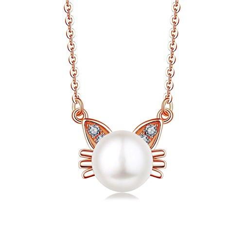 JO WISDOM collar colgante de gato plata de ley 925 con 9mm perlas de agua dulce cristales swarovski mujer joyería