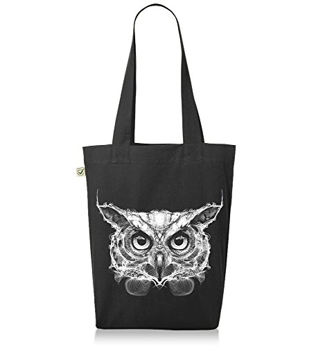Kane Grey - Owl - Premium Jutebeutel Schwarz
