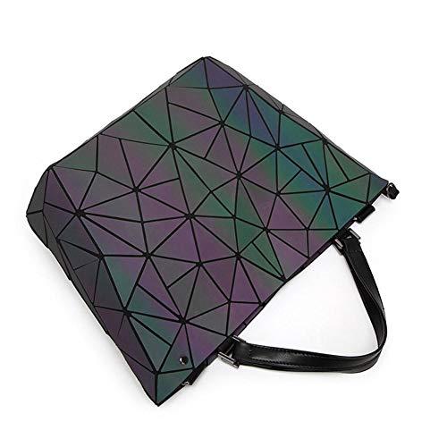 Weibliche tasche Umhängetasche Handtasche Rautengeometrie-Paket Unregelmäßig Leuchtend Eimer Tasche Mode Große Kapazität Falttasche -