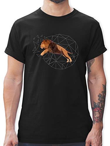 Freiheit Schwarzes T-shirt (Sonstige Tiere - Freiheit Löwe - 3XL - Schwarz - L190 - Herren T-Shirt und Männer Tshirt)