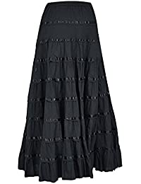 Phagun Falda Larga De Algodón De Las Mujeres 9 Falda De Círculo Completo  Maxi Summer Clothing 7300ad9acedd