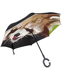 TIZORAX Pequeño Panda Oso Pintar Pintado Inverso Doble Capa Recta Paraguas Inside-out Reversible Paraguas