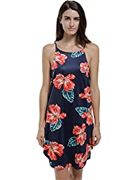 Blooming Jelly Women Dress Spaghetti Strap Floral Leaf Print Sleeveless Mini Beach Sundress