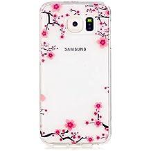 Funda Case KSHOP Para Samsung Galaxy S6 Case Cover Carcasa Suave Flexible TPU Silicona gel Forro Delgada prevención de caídas - flor del ciruelo