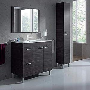 HABITMOBEL Premiere Mueble Lavabo con Espejo 2 Puertas + 2 CAJONES + Lavamanos (NO Clásica cerámica) Grifería Incluida