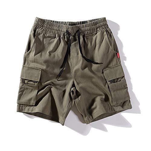 ZHOUJINGTIAN Herren Freizeit-Shorts Tooling Shorts Loose Herren Freizeitsport Sommerhose Grün M