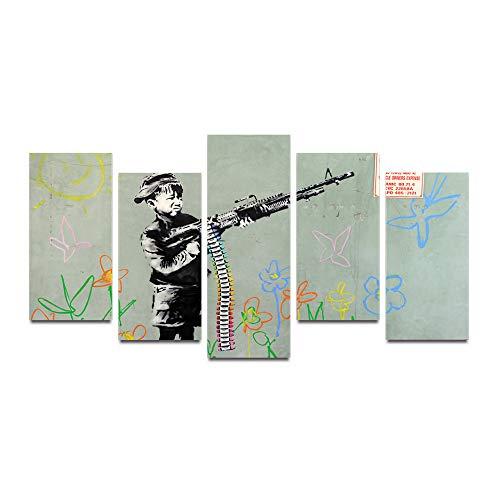 HQATPR Cuadros para El Salon Original Tinta de Aceite Impresión en Lienzo Niños con Pistola Pintura sobre Lienzo Arte de Pared Imagen Decoración para el hogar
