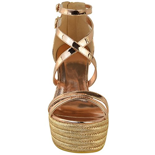 Sandales/espadrilles à plateforme - talon compensé/lanières - femmes - rose doré Rose doré chromé / métal doré