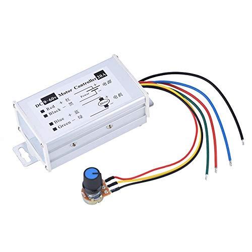 DC Motor Speed Controller, 9-60V DC 20A High Power PWM DC Motor Speed Regler stufenlos variable speed Regulator Switch Board mit Schaltfläche und Metall Shell - Motor Speed Controller