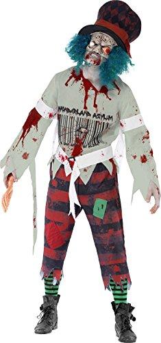 Smiffys, Herren Zombie-Hutmacher Kostüm, Maske mit angesetztem Hut, Oberteil und Hose, Größe: L , 40062