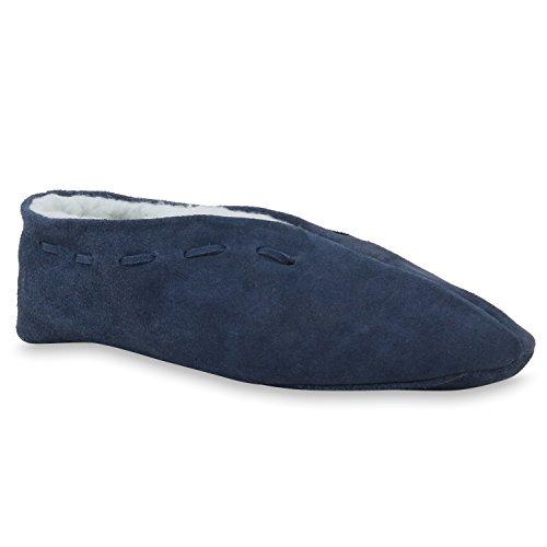 Stiefelparadies Warm Gefütterte Damen Herren Haus Pantoffeln Bequem Flats Leder Schuhe 110470 Dunkelblau 39 Flandell