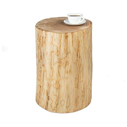GREENHAUS Baumstamm Beistelltisch ohne Rinde 35-40 cm Eiche massiv Handarbeit und Massivholz aus Deutschland Couchtisch
