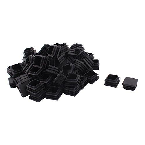 DealMux Jambes Meubles de Plastique Chaise Table Base Plane Tube carré Tuyau Embouts Caps 32 mm x 32 mm 80pcs Noir