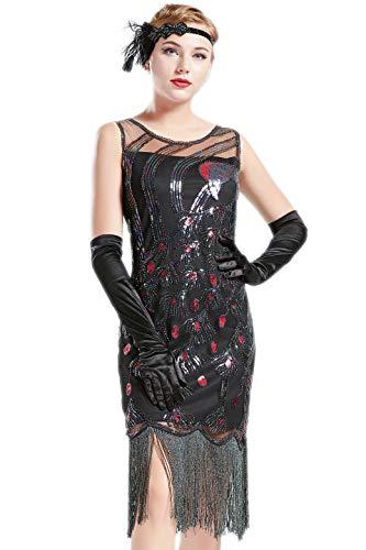ArtiDeco 1920s Kleider Damen Pfau Muster Knielang Vintage Abendkleid 20er Jahre Flapper Damen Gatsby Kostüm Kleid (Schwarz, XL)