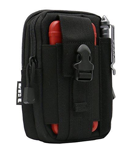 LefRight Tactical Molle Tasche EDC Utility Gadget Outdoor Herren Hüfttasche mit Handy Gürtel Clip Halterung Holster für iPhone 6S/7/X Samsung S8Pixel Moto Z Force Play, All Black, Small