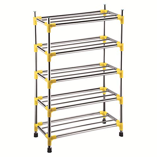 Qinqin666 Metal Storage Shelves Hold Up to(15 ) Pairs of Shoes, for Living Room, Entryway Yellow Five Layer 60x25x94cm