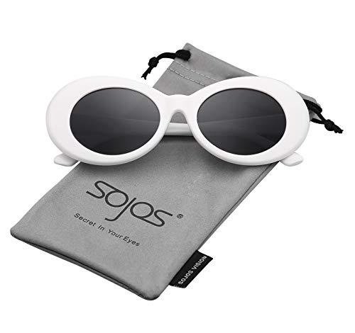 SOJOS Clout Goggles Ovale Mod Retro Vintage Kurt Cobain Inspiriert Sonnenbrille Runde Linse SJ2039 mit Weiß Rahmen/Grau Linse