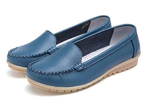 Minetom Damen Maedchen Flach Freizeit Pump Arbeiten Loafer Slipper Halbschuhe Einfache Mokassins Sommer Schuhe Blau