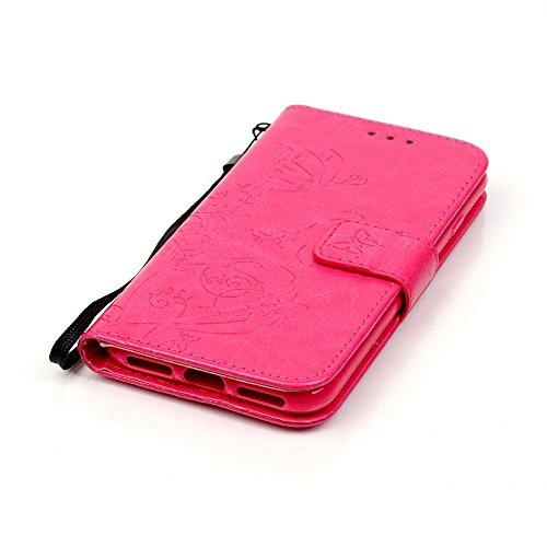 KATUMO® Schwarz Ledertasche Apple iPhone 7/8 4.7'', PU Leder Hülle Flip Case für iPhone 7 iphone8 apple Tasche Cover Leicht und Schlank Antiklopfmittel Schale Case Rose Rot